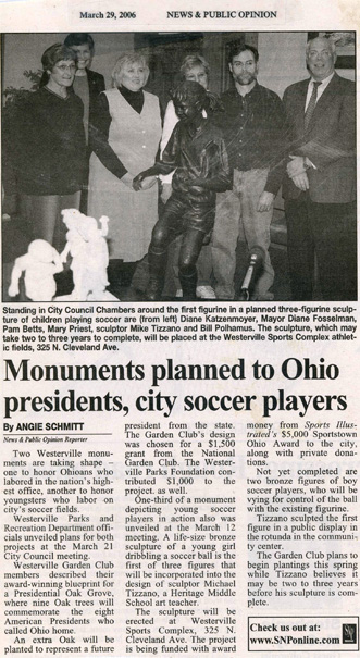 Monuments planned to Ohio presidents, city soccer players